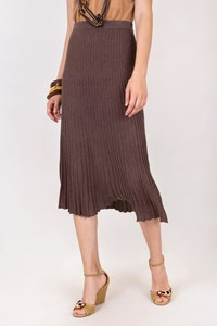 Rodier Brown Silk Plisse Knitted Skirt / Size: S - Fit: XS / S